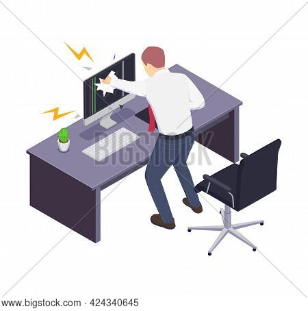 Isometric Icon With Furious Manager Breaking Computer Monitor In Office Vector Illustration