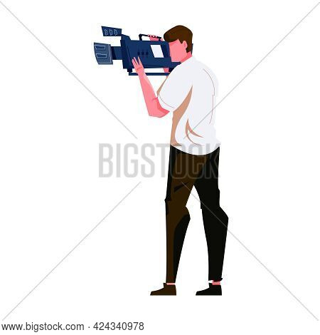 Flat Icon With Cameraman And His Equipment Vector Illustration