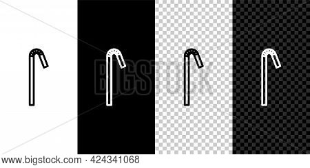 Set Line Drinking Plastic Straw Icon Isolated On Black And White Background. Vector Illustration