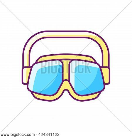 Swimming Goggles Rgb Color Icon. Isolated Vector Illustration. Eyes Protection In Swimming Pool. Wat