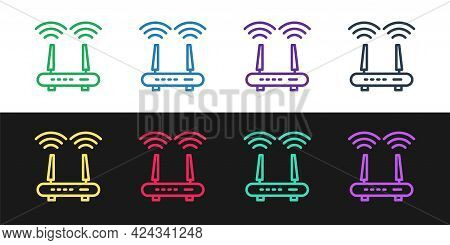 Set Line Router And Wi-fi Signal Icon Isolated On Black And White Background. Wireless Ethernet Mode