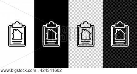 Set Line House Contract Icon Isolated On Black And White Background. Contract Creation Service, Docu