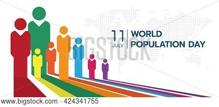 World Population Day With White Perspective Colorful Humans Sign And Circle Dot World Map Texture Ba
