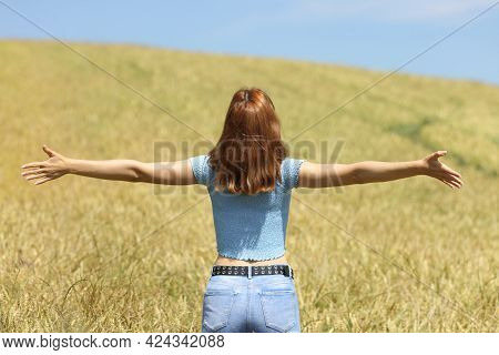 Back View Portrait Of A Woman Outstretching Arms In A Wheat Field