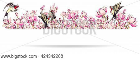 Horizontal Border With Sakura Pink Flowers And Swallow Or Martlet Bird. Spring Frame For Design With