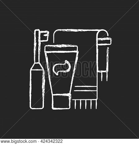Brushing Teeth Chalk White Icon On Dark Background. Toothpaste And Paste In Bathroom. Towel For Pers