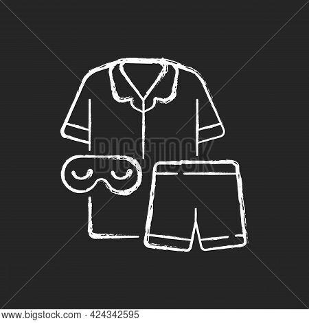Pajamas Chalk White Icon On Dark Background. Unisex Pyjamas And Eyewear. Pants And Shirt For Sleep.