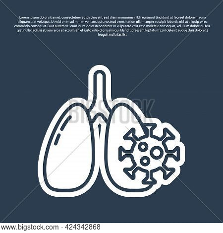 Blue Line Virus Cells In Lung Icon Isolated On Blue Background. Infected Lungs. Coronavirus, Covid-1