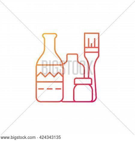 Bottle Painting Gradient Linear Vector Icon. Home Decor. Repurposed Wine Bottles. Flower Homemade Va