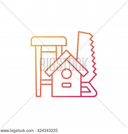 Woodworking Gradient Linear Vector Icon. Wood Carving. Handcrafted Furniture-making. Handmade Wooden