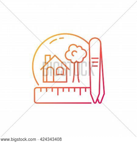 Creating Miniatures Gradient Linear Vector Icon. Building Dolls House. Miniature Model Making. Handm
