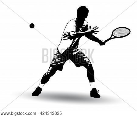 Black And White Image Of A Tennis Player Battering The Ball With A Racket Vector Illustration