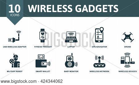 Wireless Gadgets Icon Set. Contains Editable Icons Wireless Devices Theme Such As Usb Wireless Adapt