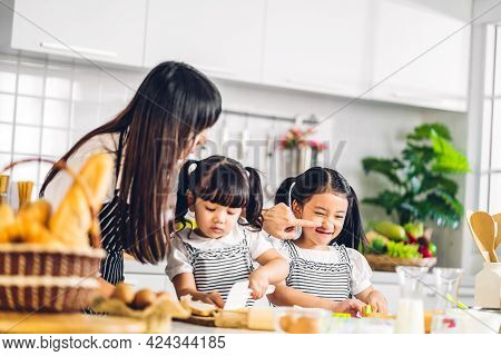 Portrait Of Enjoy Happy Love Asian Family Mother And Little Toddler Asian Girl Daughter Child Having