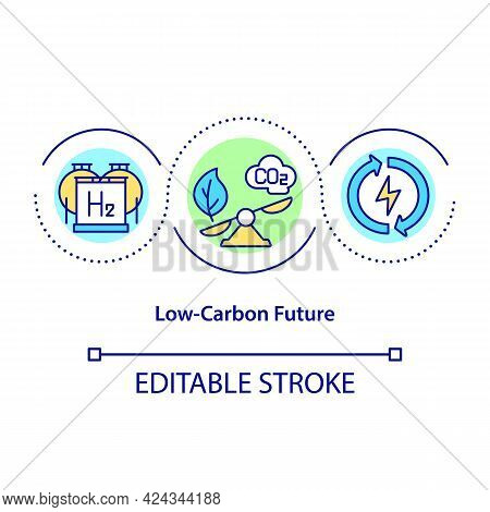 Low Carbon Future Concept Icon. Protecting Nature. Climate Change Prevention. Green Energy Source Ab