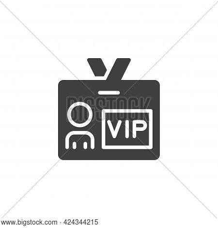 Vip Person Card Vector Icon. Filled Flat Sign For Mobile Concept And Web Design. Vip Member Badge Gl