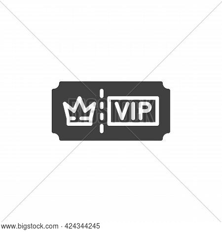 Vip Ticket Vector Icon. Filled Flat Sign For Mobile Concept And Web Design. Vip Member Pass Glyph Ic
