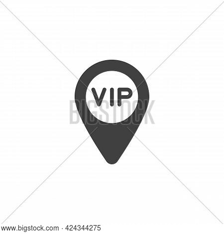 Vip Map Pointer Vector Icon. Filled Flat Sign For Mobile Concept And Web Design. Vip Place Location