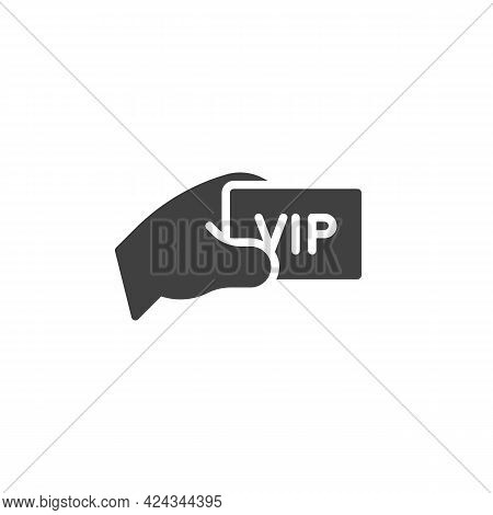Hand With Vip Ticket Vector Icon. Filled Flat Sign For Mobile Concept And Web Design. Vip Pass Glyph