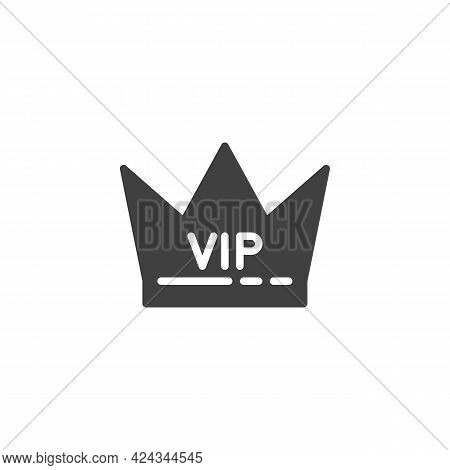 Vip, Premium Vector Icon. Filled Flat Sign For Mobile Concept And Web Design. Vip Crown Glyph Icon.