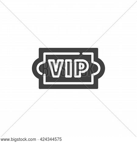 Vip Ticket Vector Icon. Filled Flat Sign For Mobile Concept And Web Design. Vip Premium Glyph Icon.