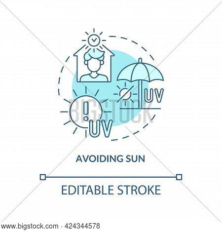 Avoiding Sun Concept Icon. Heat Exhaustion Risk Reducing Abstract Idea Thin Line Illustration. Heats