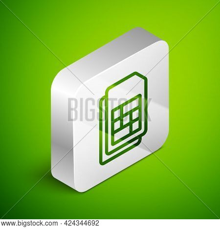 Isometric Line Sim Card Icon Isolated On Green Background. Mobile Cellular Phone Sim Card Chip. Mobi