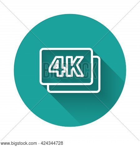 White Line 4k Ultra Hd Icon Isolated With Long Shadow. Green Circle Button. Vector