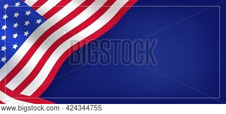 June 4. Us Independence Day. A Banner With A Flag Symbol With An Empty Space For Your Text.