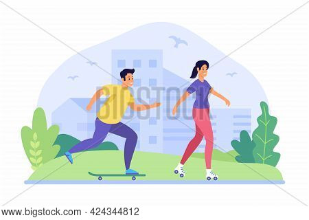 People Ride Skateboards And Rollerblades. Summer Sports. Guy Is Accelerating On Skateboard. Girl Sli