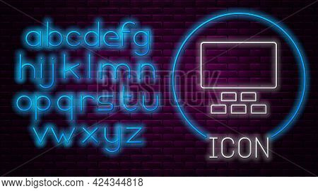 Glowing Neon Line Cinema Auditorium With Screen And Seats Icon Isolated On Brick Wall Background. Ne