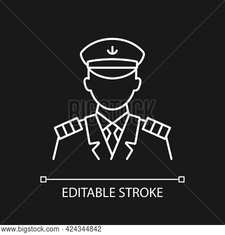 Male Captain White Linear Icon For Dark Theme. Person Controling All Cruise Crew. Providing Service.
