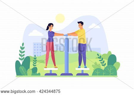 Warm Up Muscles Of Body Simulator In Park. Young Woman And Man Stand On Platforms And Hold On Handle