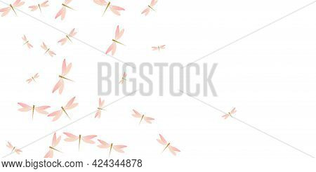 Magic Rosy Pink Dragonfly Flat Vector Background. Summer Funny Insects. Fancy Dragonfly Flat Dreamy