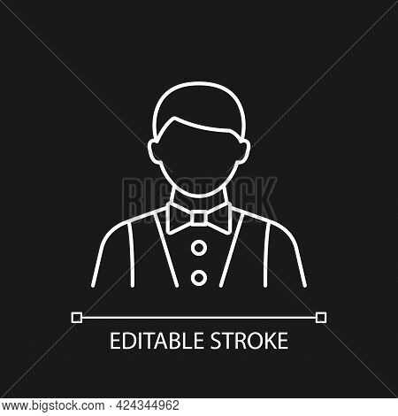 Waiter And Barman White Linear Icon For Dark Theme. Making Meals For Passengers During Vacation. Thi