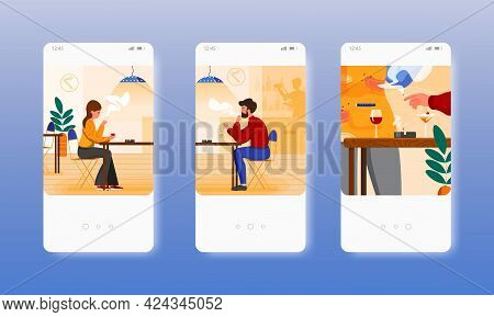 Bar Smoking Area. People Drinking Wine, Smoking. Mobile App Screens, Vector Website Banner Template.