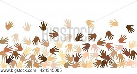 People Hands Of Various Skin Tone Vector Illustration. Audience Concept. Multinational Company Palm