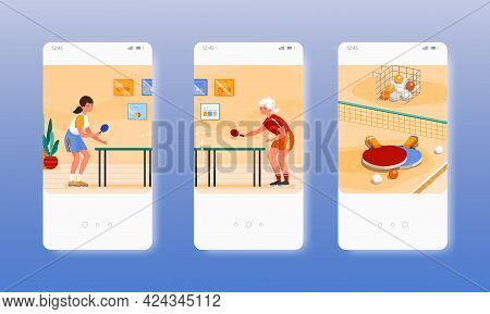 Girls Playing Table Tennis Ping Pong Sport Game. Mobile App Screens, Vector Website Banner Template.