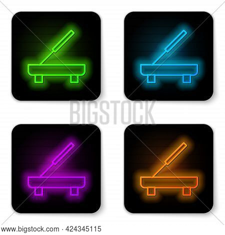Glowing Neon Line Scented Spa Stick On A Wooden Stand Icon Isolated On White Background. Incense Sti