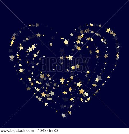 Gold Falling Star Sparkle Elements Of Glitter Gradient Vector Background. Fashionable Confetti Gold