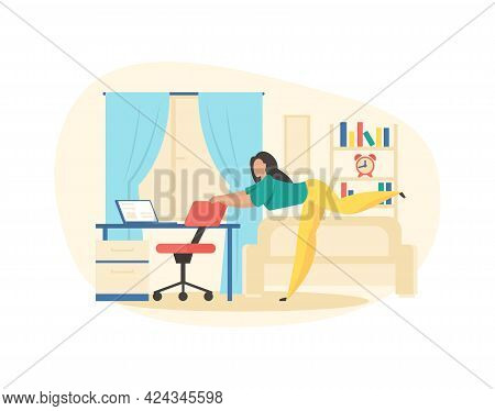 Active Fitness In Workplace. Woman Doing Stretching Holding On Chair. Freelancer Physical Warm Up Af