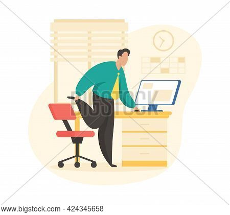 Break For Warm Up. Businessman Stretches Legs After Sitting Long Time At Computer. Workplace Fitness