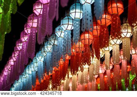 Colourful Lighting Lantern Festival At Hariphunchai Temple, Lamphun Province, Thailand.