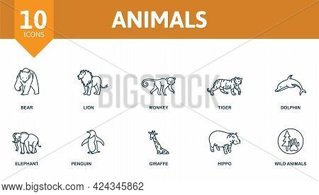 Animals Icon Set. Contains Editable Icons Wild Animals Theme Such As Bear, Monkey, Dolphin And More.