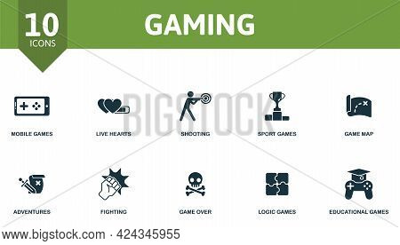 Gaming Icon Set. Contains Editable Icons Video Games Theme Such As Mobile Games, Shooting, Game Map