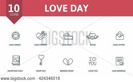 Love Day Icon Set. Contains Editable Icons Valentines Day Theme Such As Love Target, Love Cake, Love
