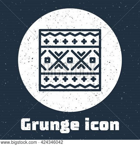 Grunge Line Ukrainian Ethnic Pattern For Embroidery Icon Isolated On Grey Background. Traditional Fo