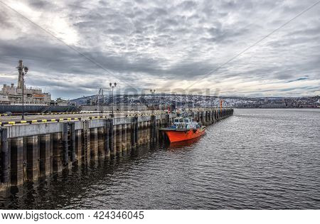 Murmansk, Russia - April 21, 2019: View Of Seaport Of The Russian Industrial City Of Murmansk From T