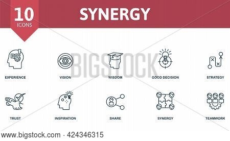 Synergy Icon Set. Contains Editable Icons Teamwork Theme Such As Experience, Wisdom, Strategy And Mo