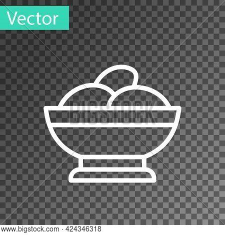 White Line Varenyky In A Bowl Icon Isolated On Transparent Background. Pierogi, Varenyky, Dumpling,